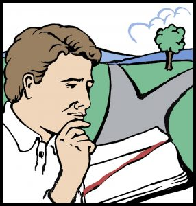 man thinking with bible